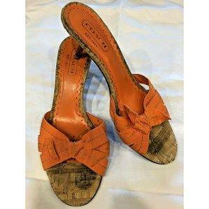 Coach Bree Kitten Mules Sandals Orange Bow Size 8